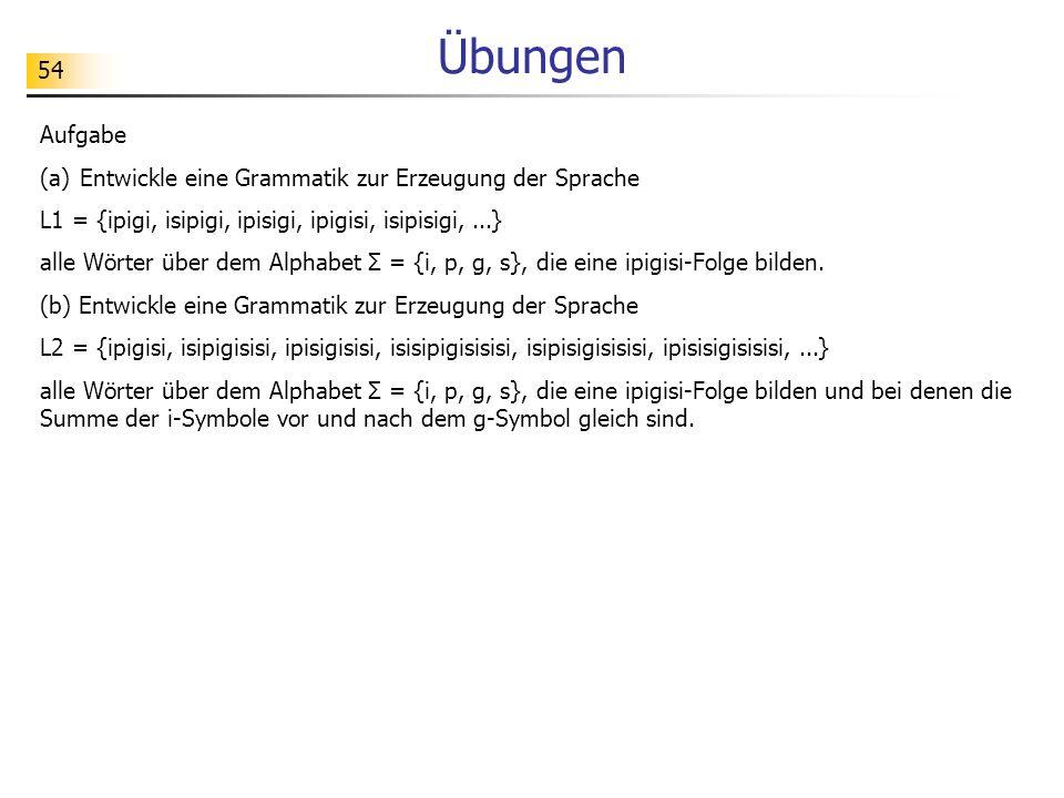 Übungen Aufgabe Entwickle eine Grammatik zur Erzeugung der Sprache