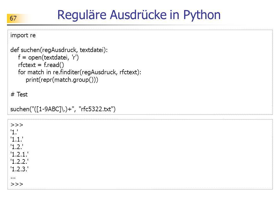 Reguläre Ausdrücke in Python