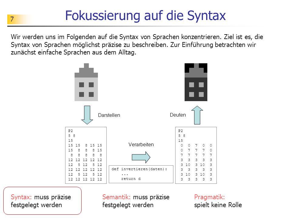 Fokussierung auf die Syntax