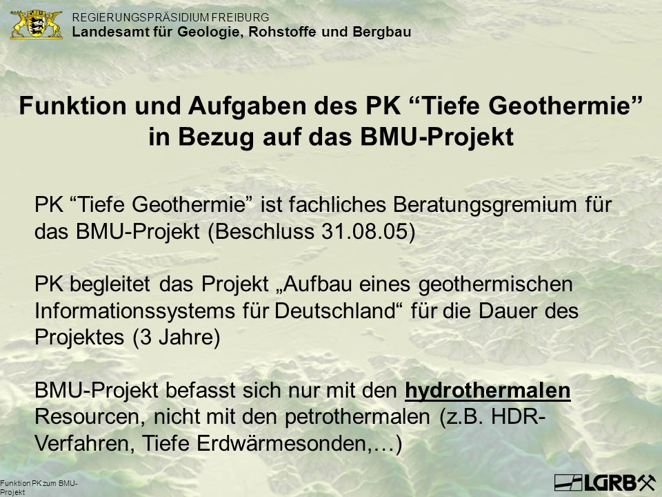 Funktion PK zum BMU-Projekt