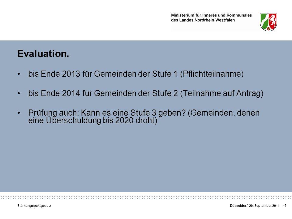 Evaluation. bis Ende 2013 für Gemeinden der Stufe 1 (Pflichtteilnahme)