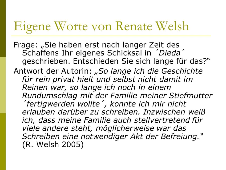 Eigene Worte von Renate Welsh