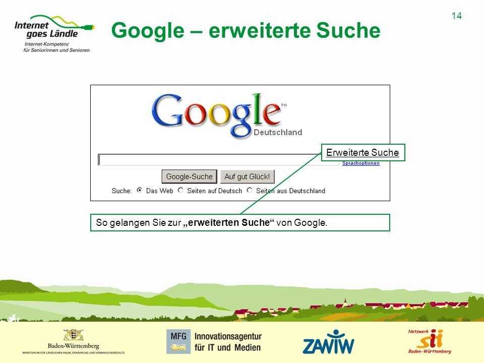 Google – erweiterte Suche