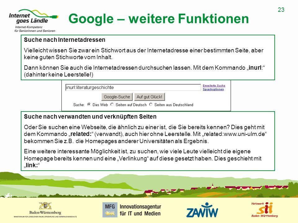 Google – weitere Funktionen
