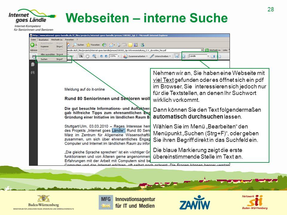 Webseiten – interne Suche