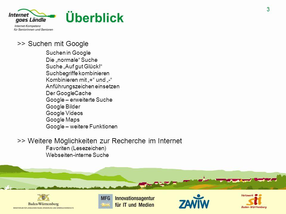 Überblick >> Suchen mit Google