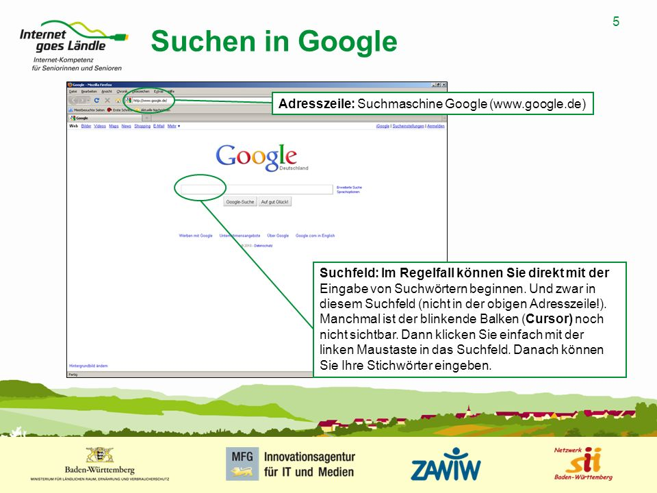 Suchen in Google Adresszeile: Suchmaschine Google (www.google.de)
