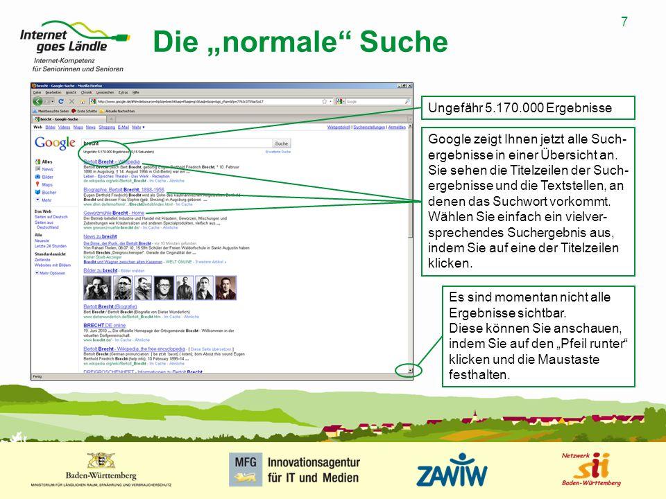 """Die """"normale Suche Ungefähr 5.170.000 Ergebnisse"""
