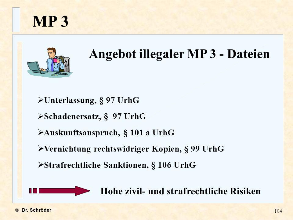 MP 3 Angebot illegaler MP 3 - Dateien