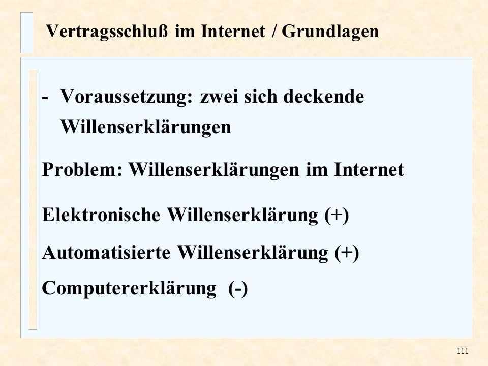 Vertragsschluß im Internet / Grundlagen