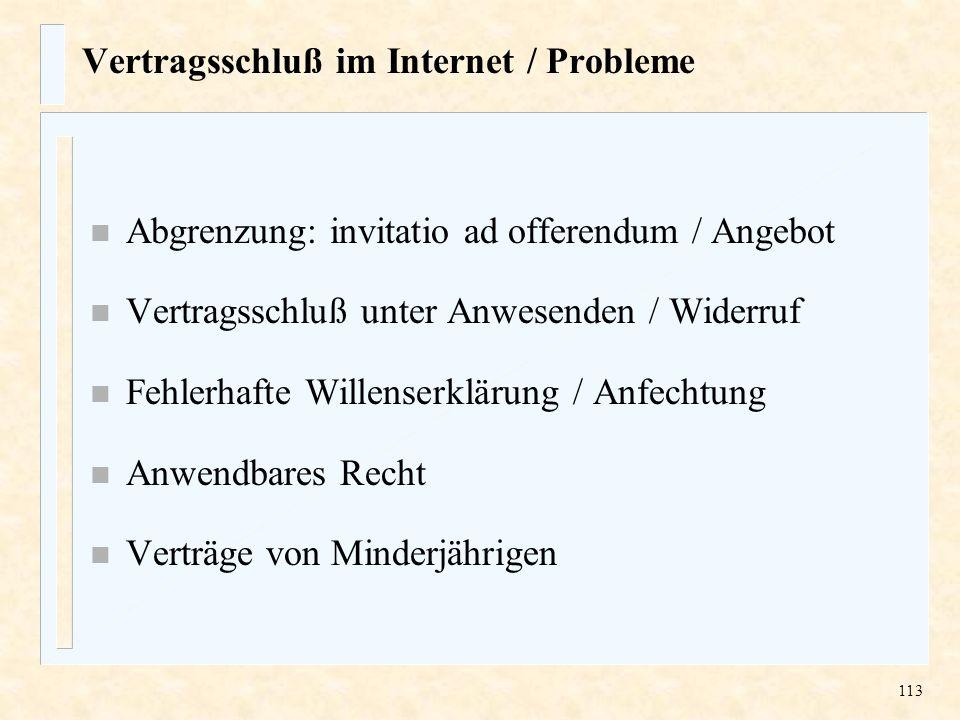Vertragsschluß im Internet / Probleme