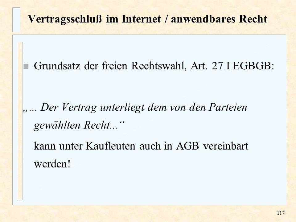 Vertragsschluß im Internet / anwendbares Recht