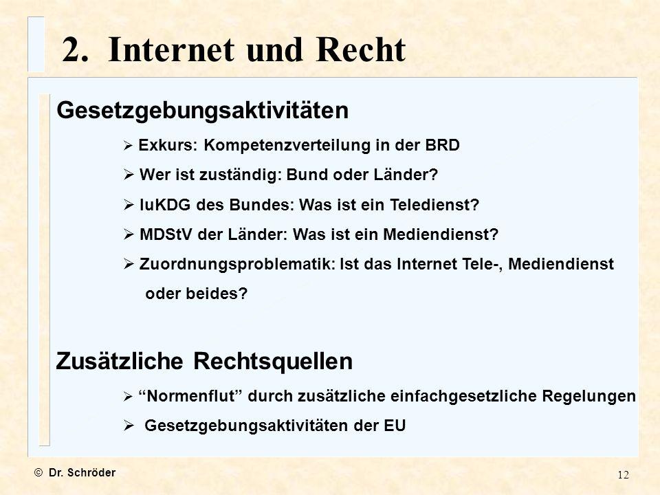 2. Internet und Recht Gesetzgebungsaktivitäten