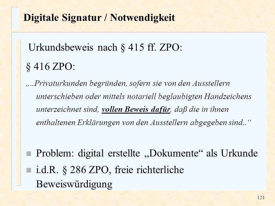 Digitale Signatur / Notwendigkeit