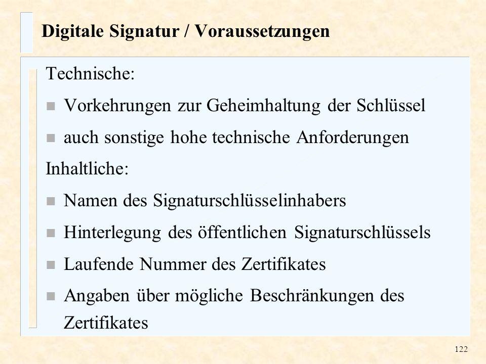 Digitale Signatur / Voraussetzungen