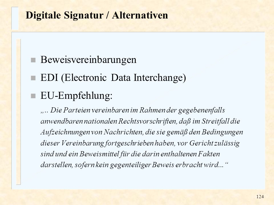 Digitale Signatur / Alternativen