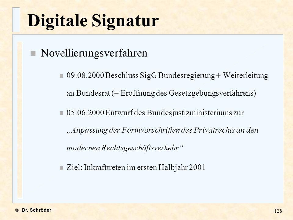 Digitale Signatur Novellierungsverfahren