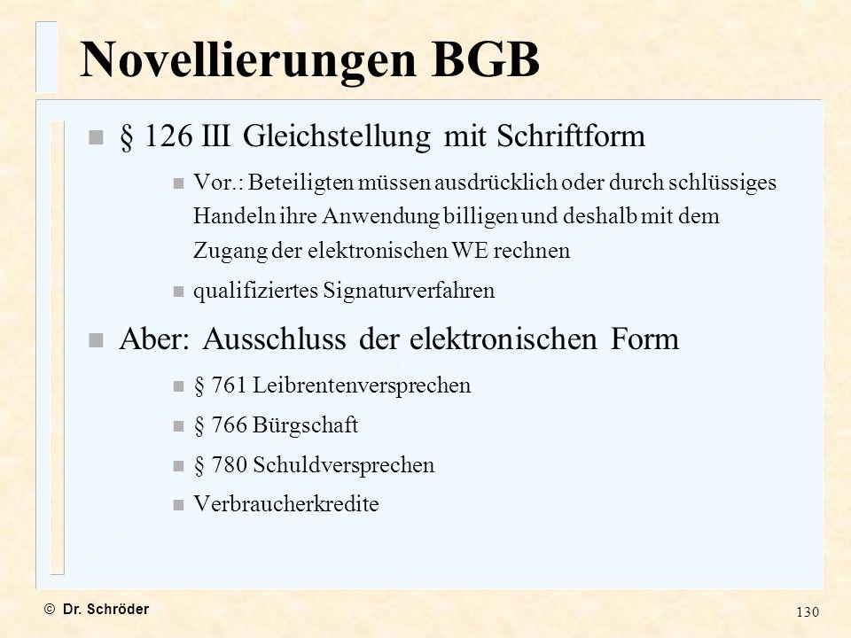 Novellierungen BGB § 126 III Gleichstellung mit Schriftform
