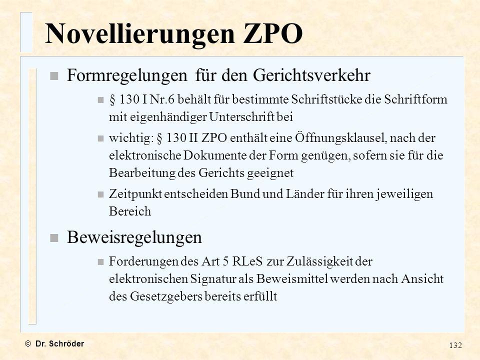 Novellierungen ZPO Formregelungen für den Gerichtsverkehr
