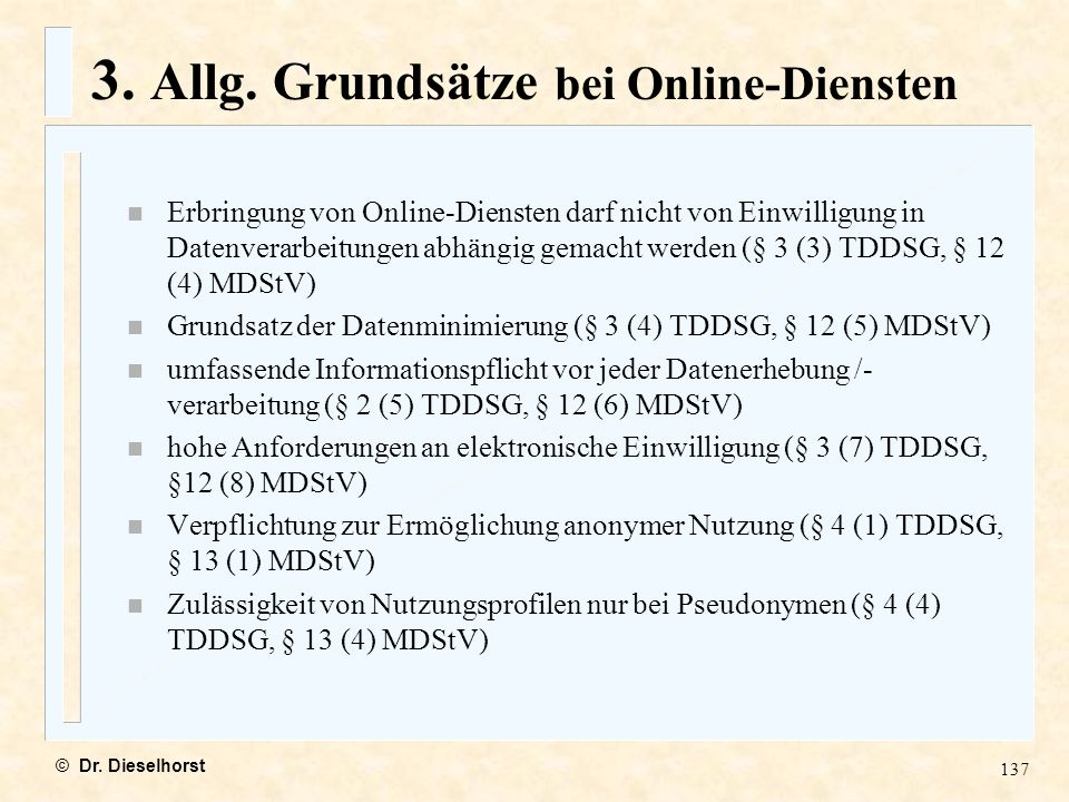 3. Allg. Grundsätze bei Online-Diensten