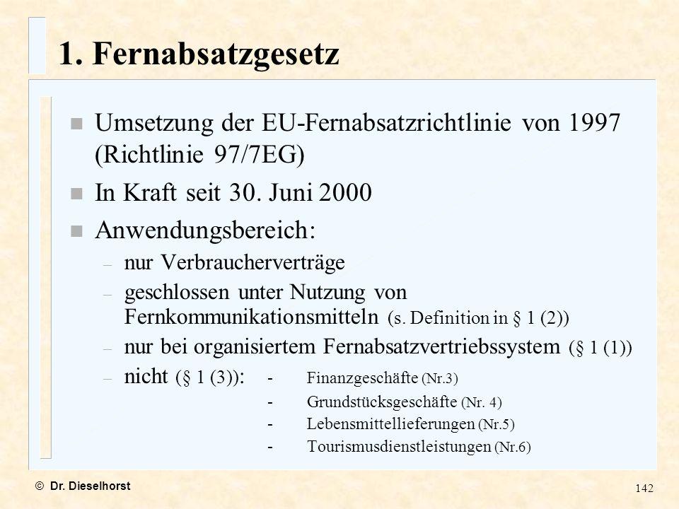 1. Fernabsatzgesetz Umsetzung der EU-Fernabsatzrichtlinie von 1997 (Richtlinie 97/7EG) In Kraft seit 30. Juni 2000.