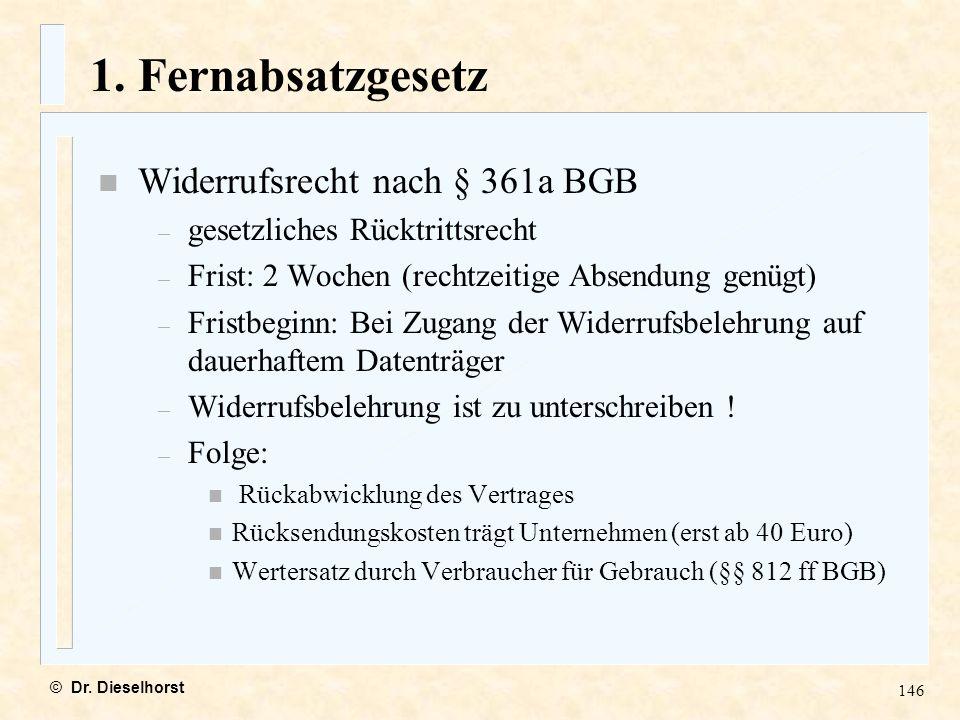 1. Fernabsatzgesetz Widerrufsrecht nach § 361a BGB