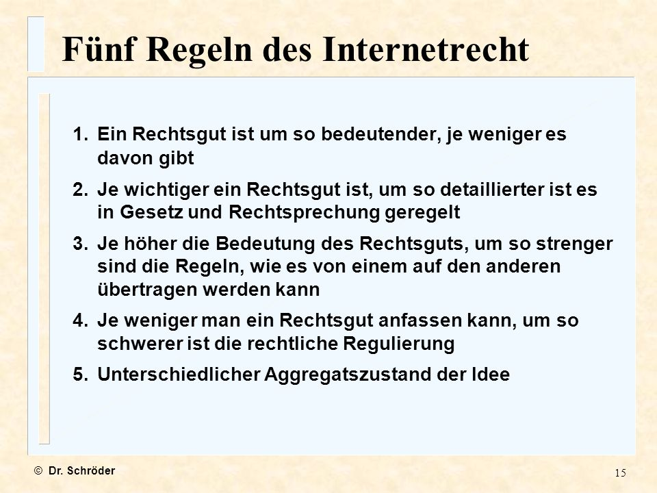 Fünf Regeln des Internetrecht
