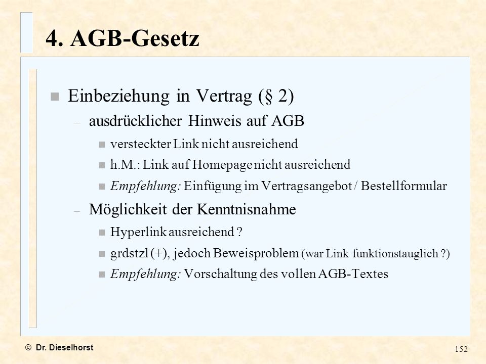 4. AGB-Gesetz Einbeziehung in Vertrag (§ 2)