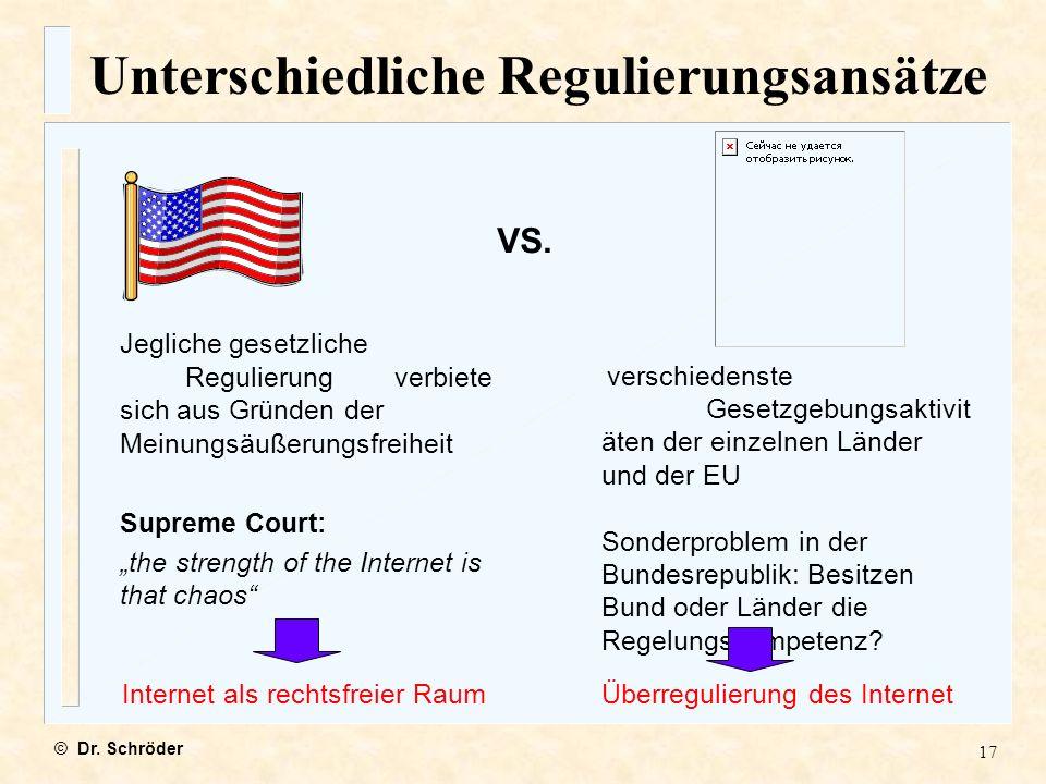 Unterschiedliche Regulierungsansätze