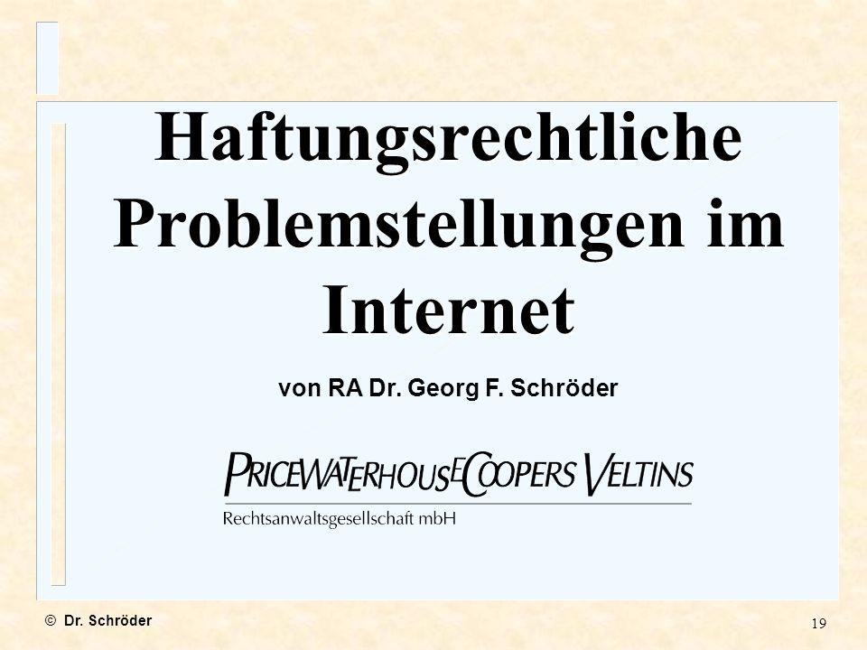 Haftungsrechtliche Problemstellungen im Internet