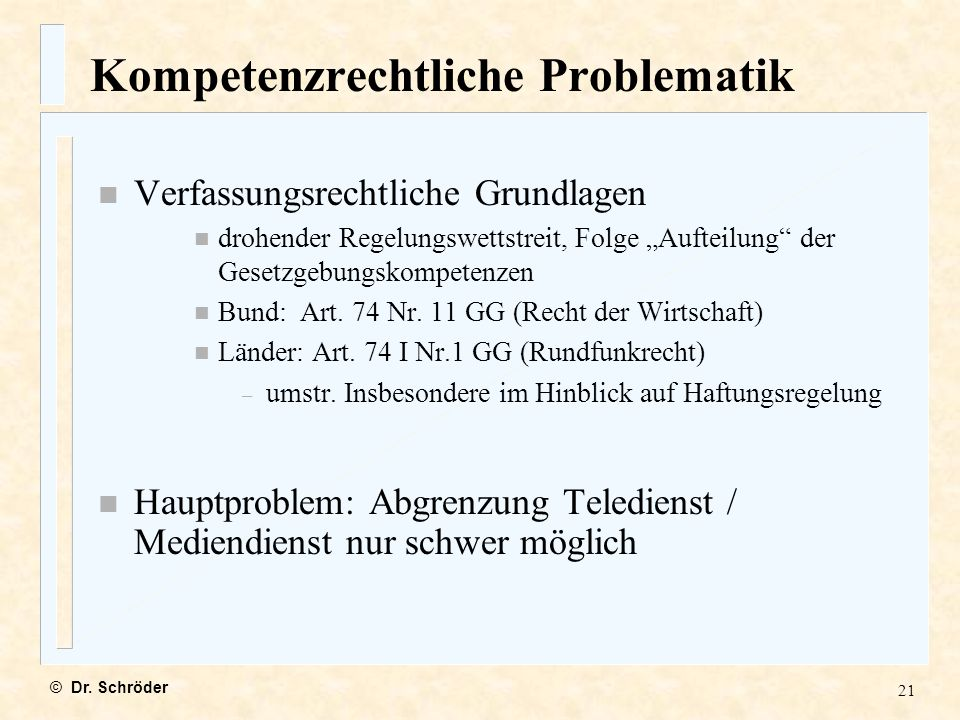 Kompetenzrechtliche Problematik