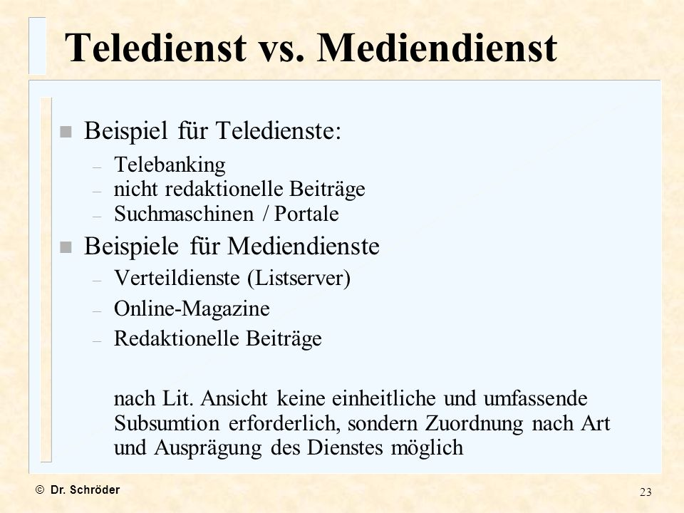 Teledienst vs. Mediendienst