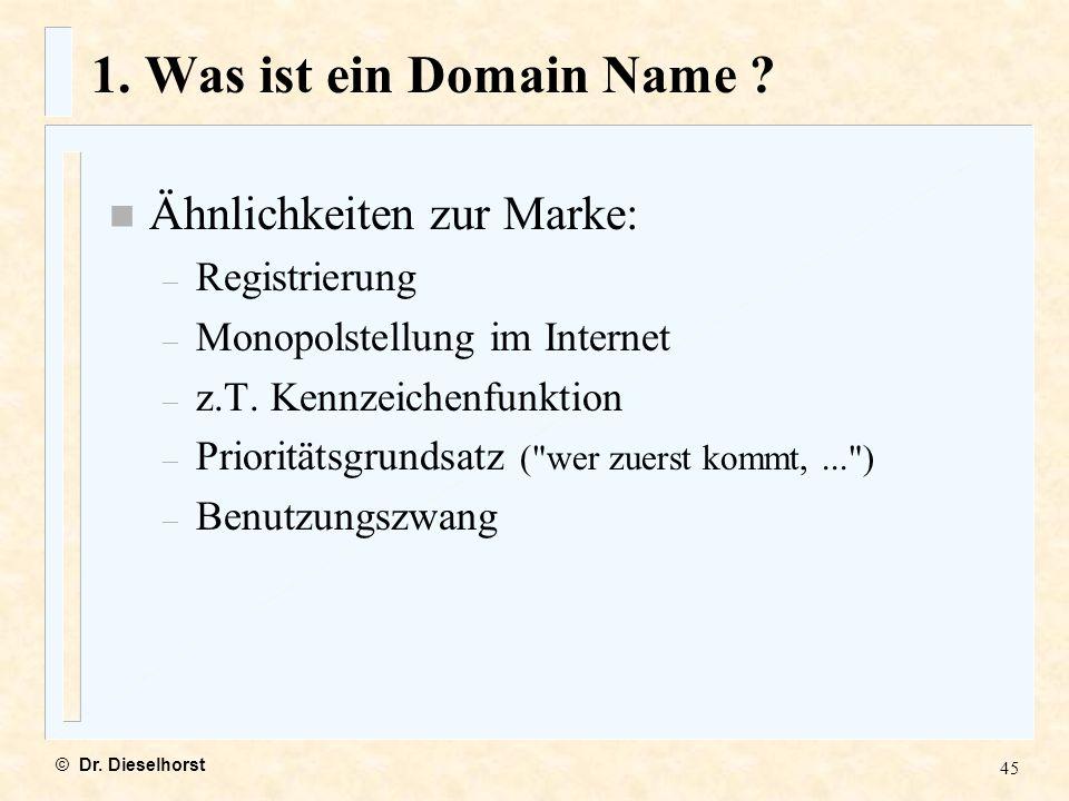 1. Was ist ein Domain Name Ähnlichkeiten zur Marke: Registrierung
