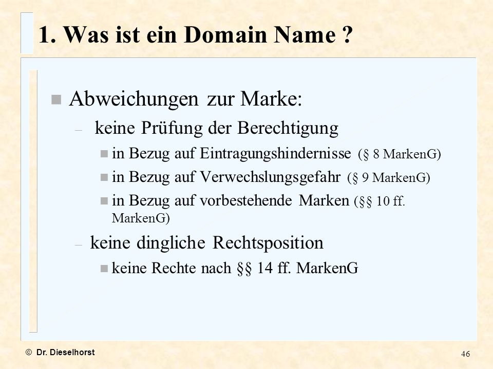 1. Was ist ein Domain Name Abweichungen zur Marke: