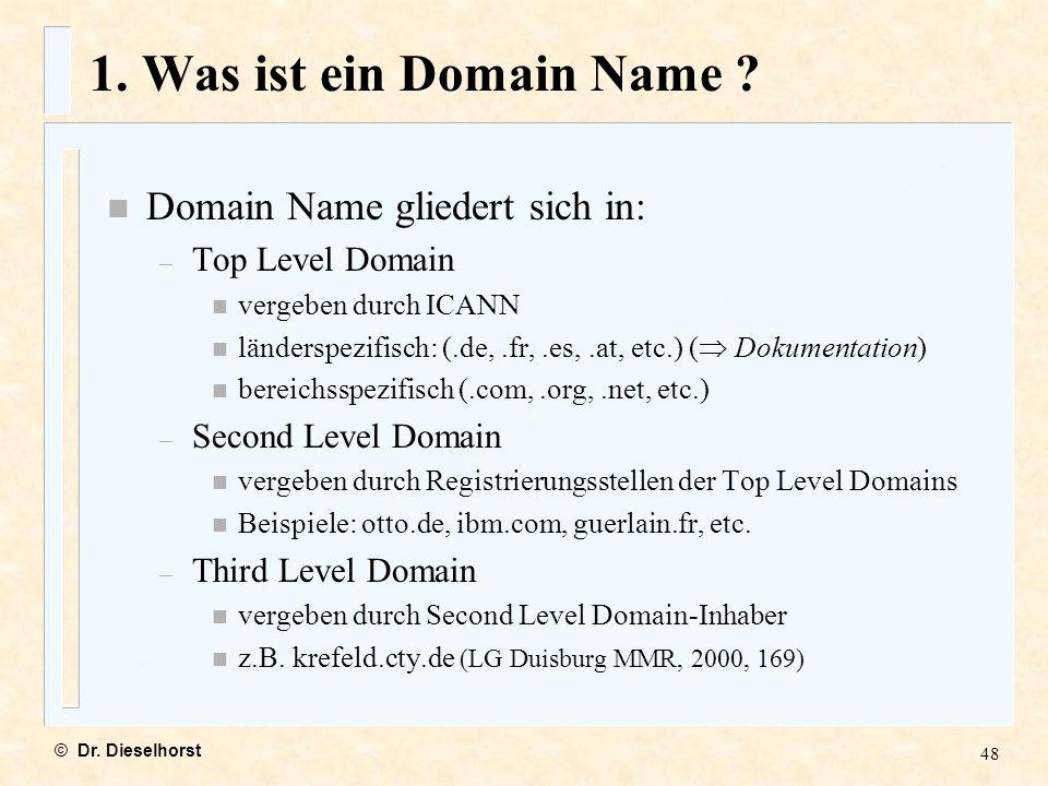 1. Was ist ein Domain Name Domain Name gliedert sich in: