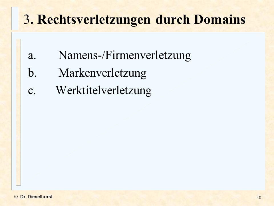 3. Rechtsverletzungen durch Domains