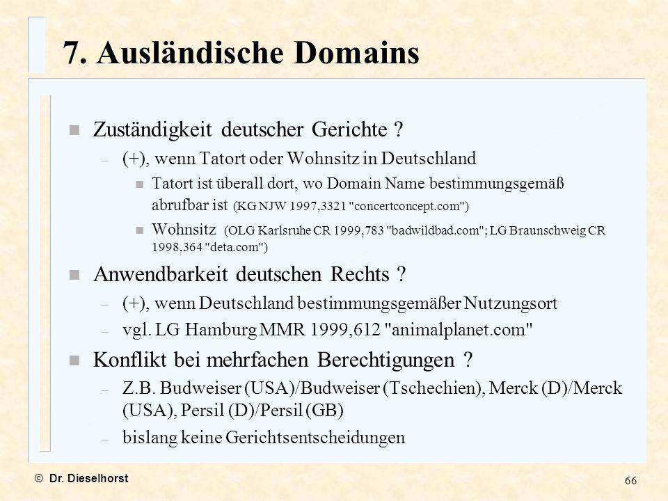 7. Ausländische Domains Zuständigkeit deutscher Gerichte