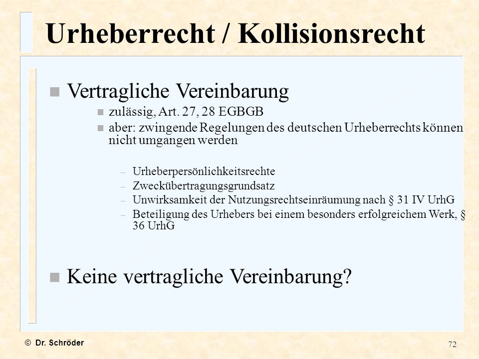 Urheberrecht / Kollisionsrecht