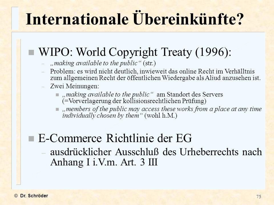 Internationale Übereinkünfte
