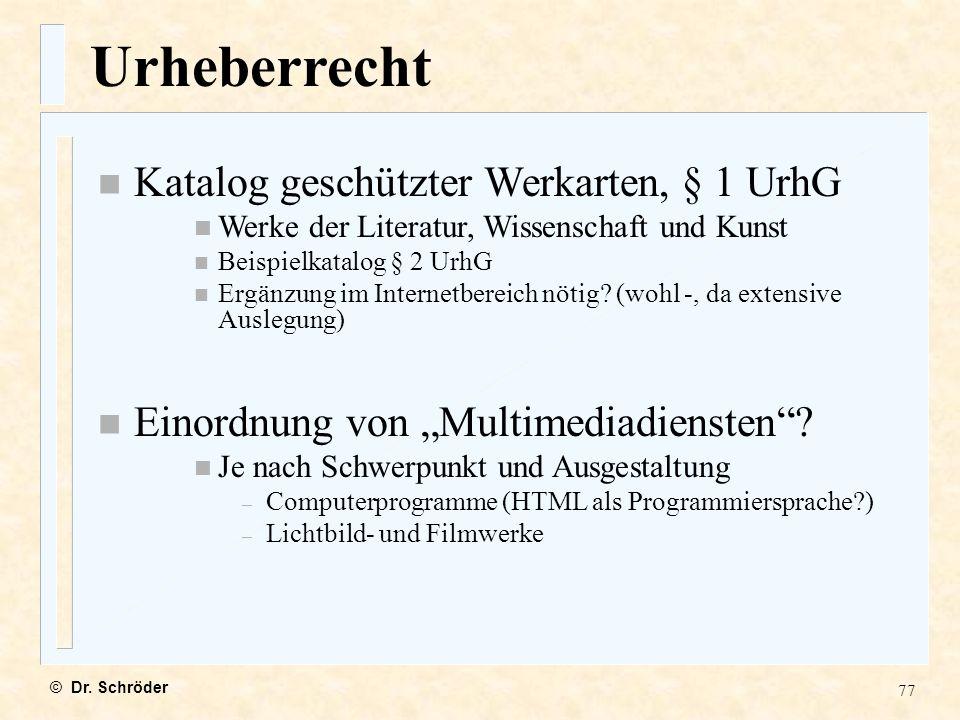 Urheberrecht Katalog geschützter Werkarten, § 1 UrhG