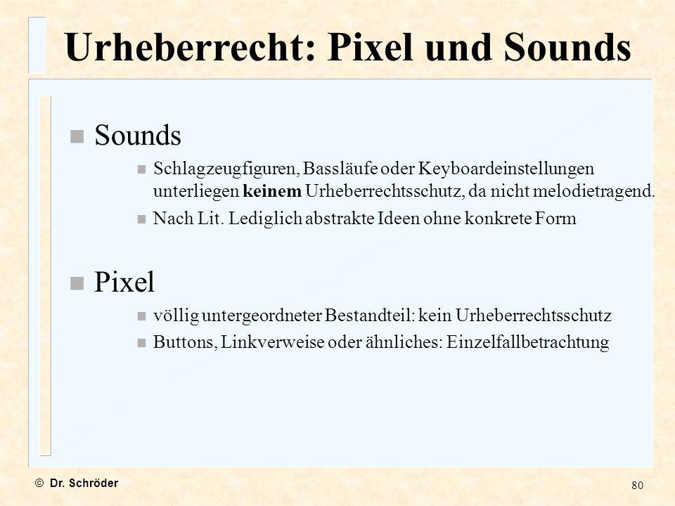 Urheberrecht: Pixel und Sounds
