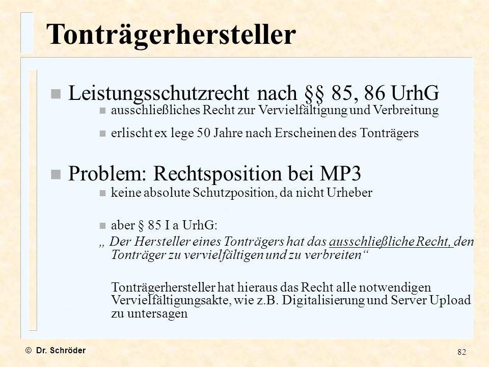 Tonträgerhersteller Leistungsschutzrecht nach §§ 85, 86 UrhG