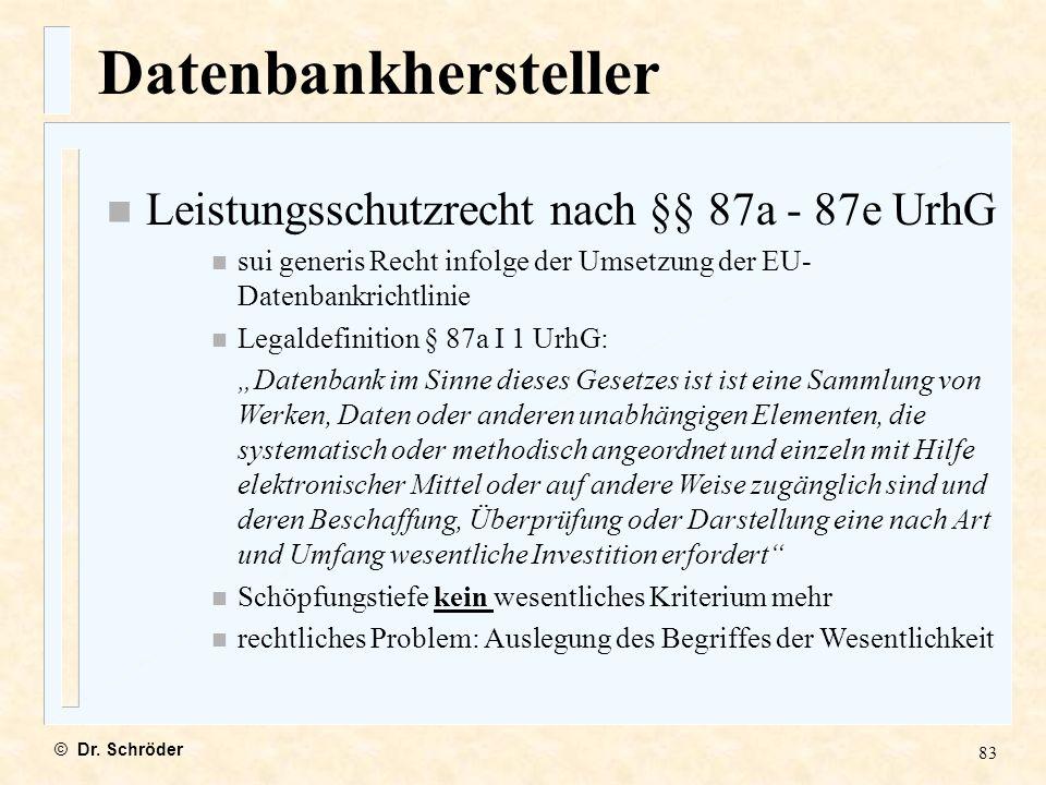 Datenbankhersteller Leistungsschutzrecht nach §§ 87a - 87e UrhG