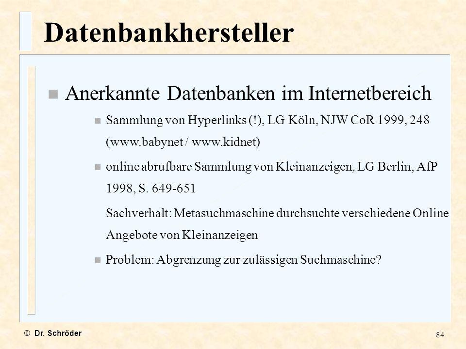 Datenbankhersteller Anerkannte Datenbanken im Internetbereich