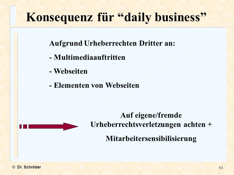 Konsequenz für daily business