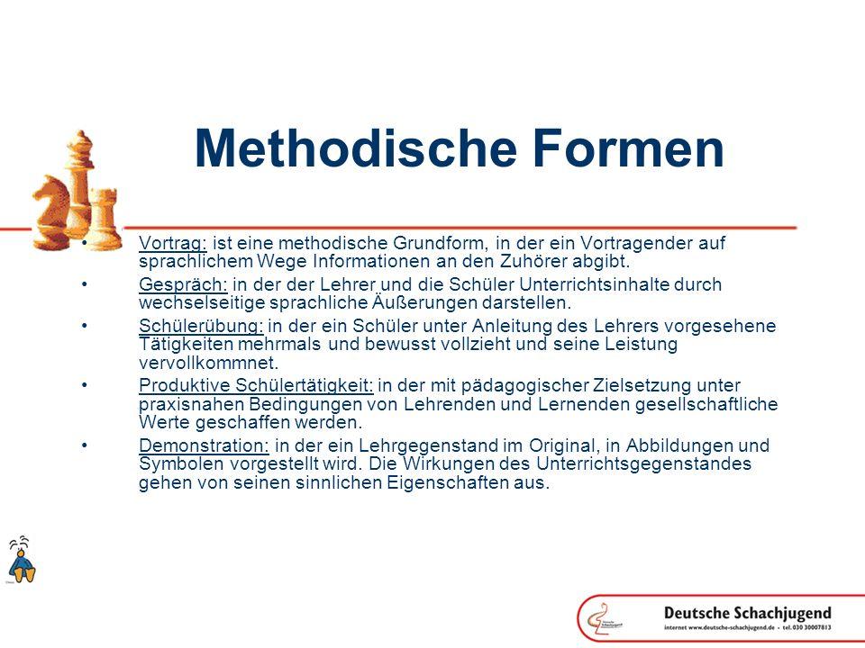 Methodische Formen Vortrag: ist eine methodische Grundform, in der ein Vortragender auf sprachlichem Wege Informationen an den Zuhörer abgibt.