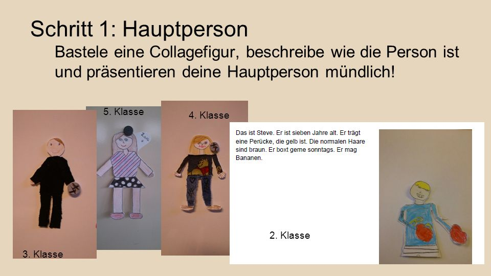 Schritt 1: Hauptperson Bastele eine Collagefigur, beschreibe wie die Person ist und präsentieren deine Hauptperson mündlich!
