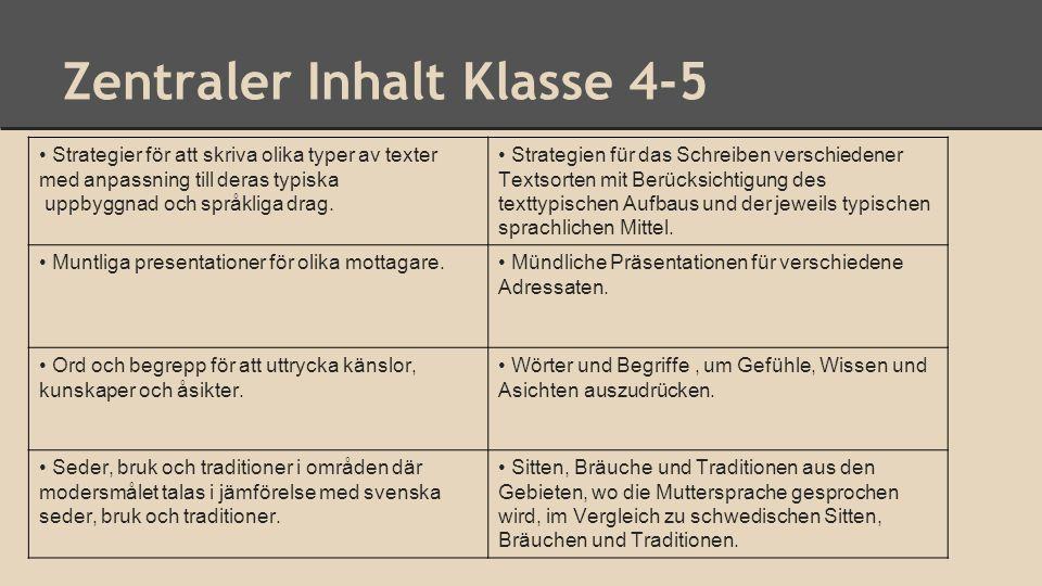 Zentraler Inhalt Klasse 4-5