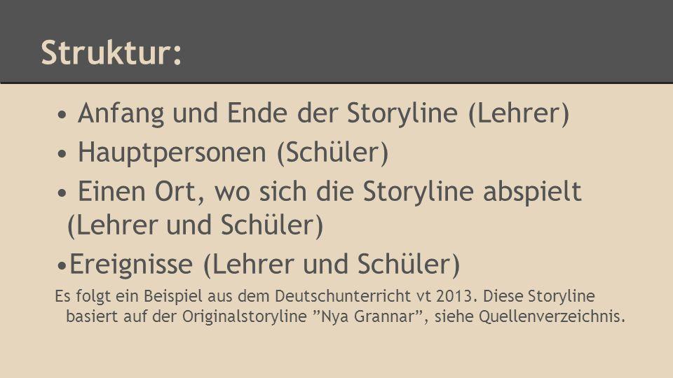 Struktur: Anfang und Ende der Storyline (Lehrer)