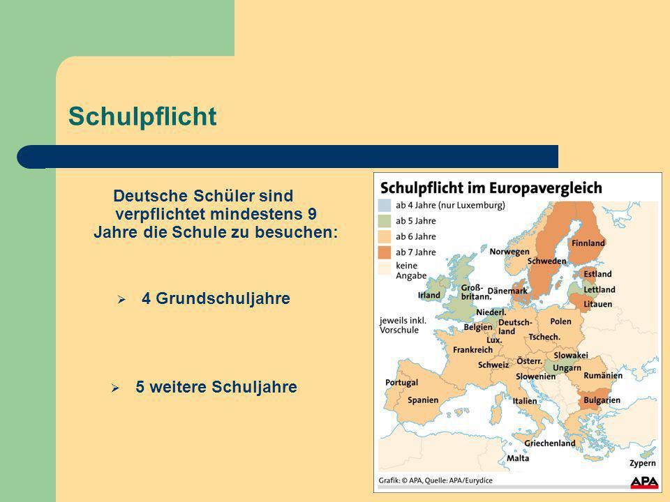 Schulpflicht Deutsche Schüler sind verpflichtet mindestens 9 Jahre die Schule zu besuchen: 4 Grundschuljahre.